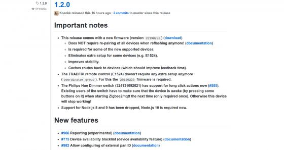 Zigbee2mqtt se actualiza a la nueva versión 1.2 con nuevo firmware incluido