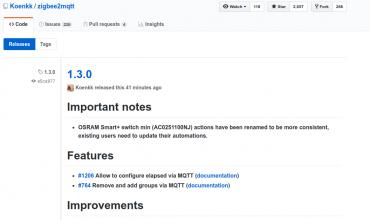 Zigbee2mqtt se actualiza a la versión 1.3.0