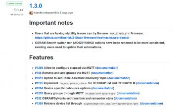 Zigbee2mqtt se actualiza a la versión 1.3.0 (de nuevo)