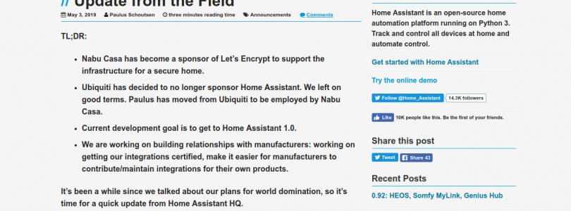El creador de Home Assistant nos hace un repaso de la situación del proyecto