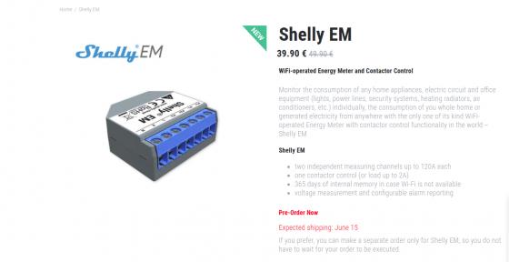 Shelly listo para la reserva del Shelly EM