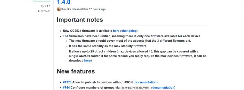 Zigbee2mqtt se actualiza a la versión 1.4.0