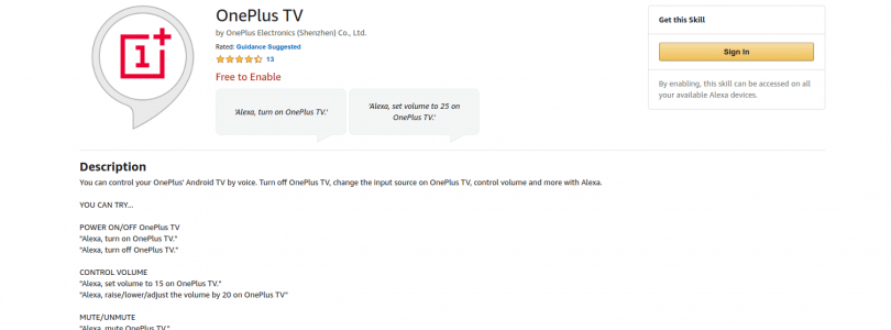 oneplus tv skill