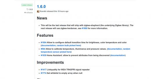 Zigbee2mqtt se actualiza a la versión 1.6.0