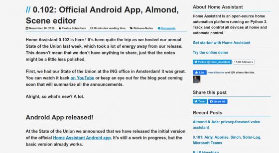 Home Assistant se actualiza a la versión 0.102, ¡con App oficial en Android!