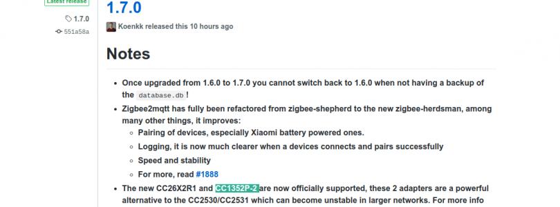 zigbee2mqtt versión 1.7.0
