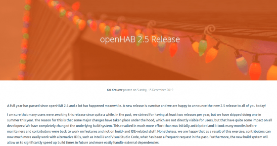 OpenHAB lanza la versión 2.5.0