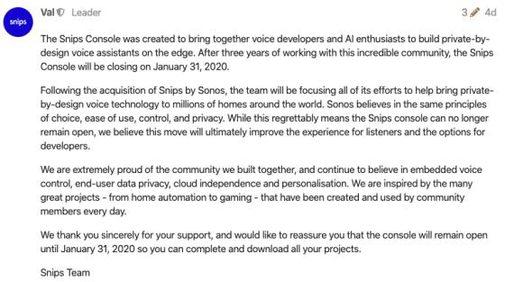 Sonos cerrará la opción de uso local en Snips