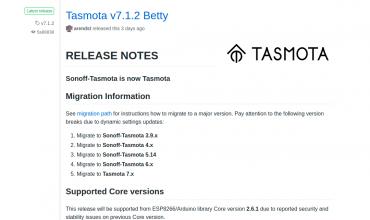 tasmota 7.1.2 y más de 700 dispositivos con Templates