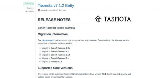 Tasmota actualiza a la versión 7.1.2 y alcanza los 700 Templates