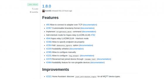 Zigbee2mqtt 1.8.0: Nueva versión antes de acabar el año