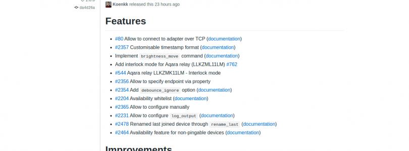 Zigbee2mqtt 1.8.0
