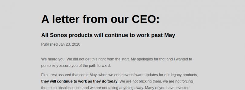 disculpa del CEO de Sonos