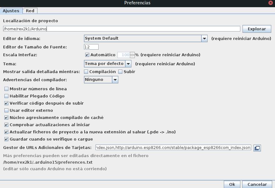 Arduino IDE con las URL de las placas de expressif