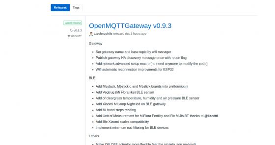 OpenMqttGateway llega a la versión 0.9.3
