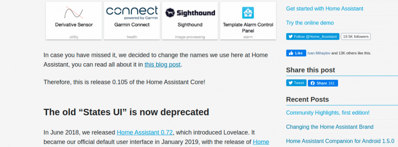 Home Assistant 0.105