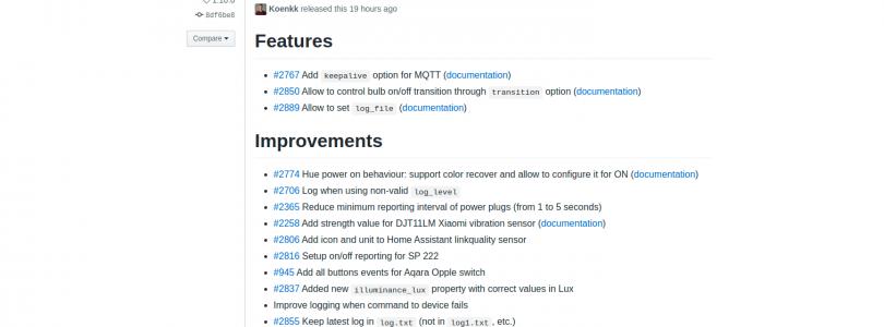 Zigbee2mqtt versión 1.10.0