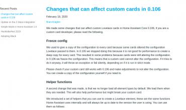 aviso de que con la versión 0.106 de Home Assistant podrían fallar algunas cards de lovelace