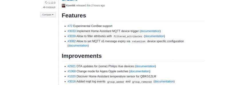 zigbee2mqtt versión 1.12.0