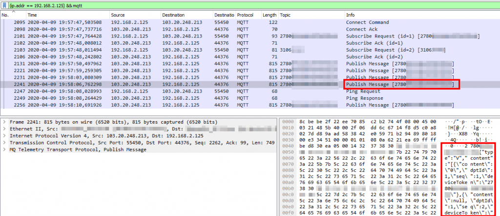 Wireshark con datos del JQ-300