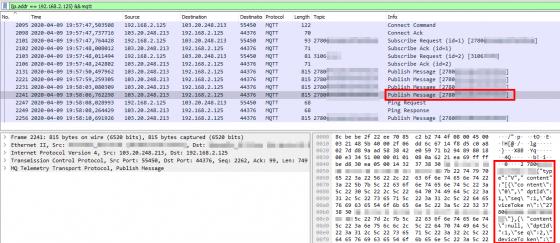 Wireshark con datos del JQ-300