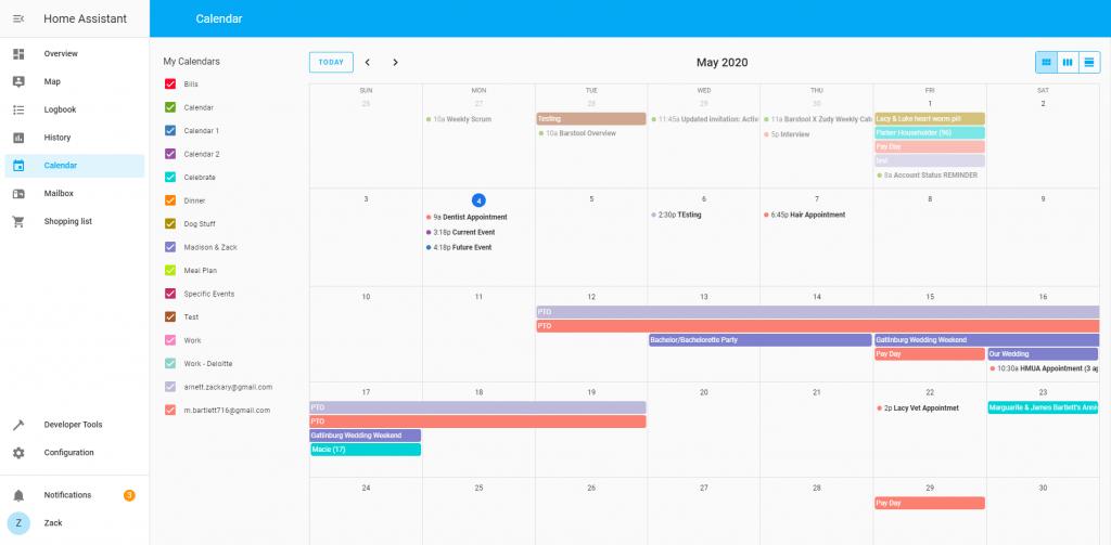Calendario de Home assistant 0.110