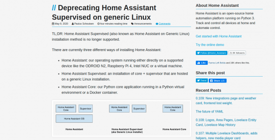 Home Assistant Supervised, la instalación genérica de Linux, deja de estar soportada
