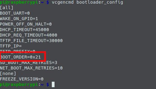 Configuración de BOOT_ORDER sin arranque por USB