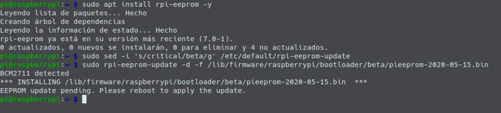 Actualización del firmware de la Pi4 para poner la beta con arranque USB