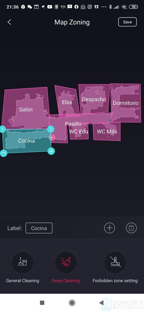 Selección de zonas del Puppyoo R6 Home