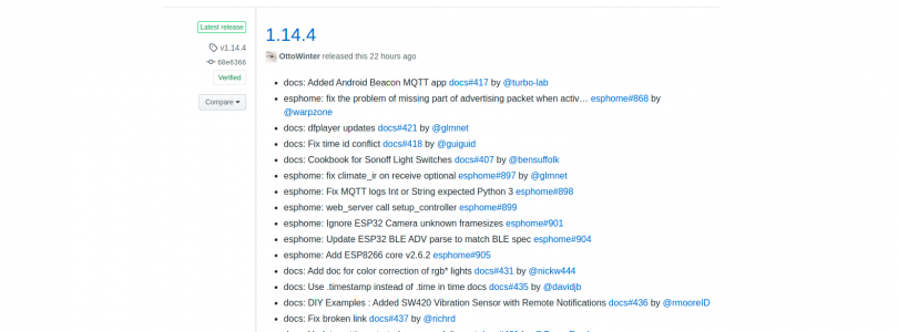 esphome versión 1.14.4