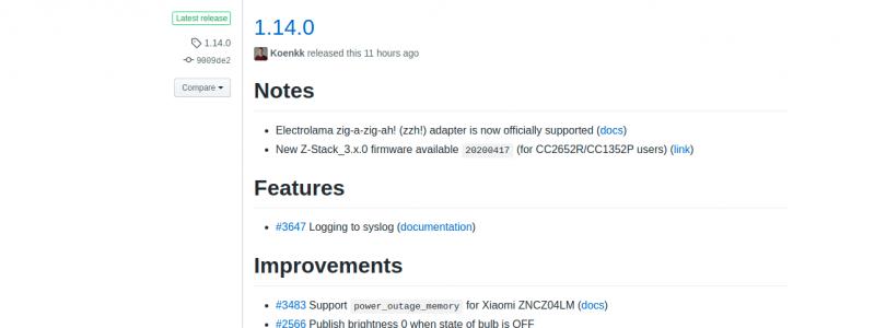 zigbee2mqtt 1.14.0