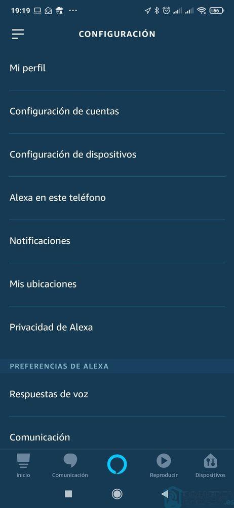 Configuración App de Alexa