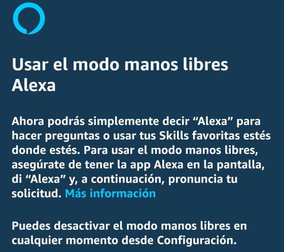 Activar el modo Manos Libres en Alexa
