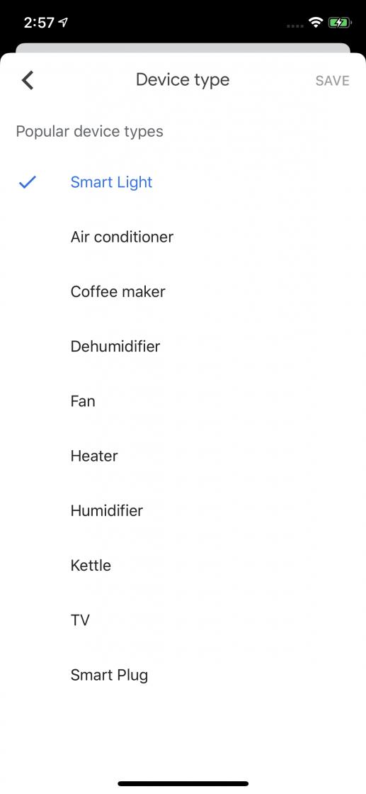 configuración de un dispositivo en Google home