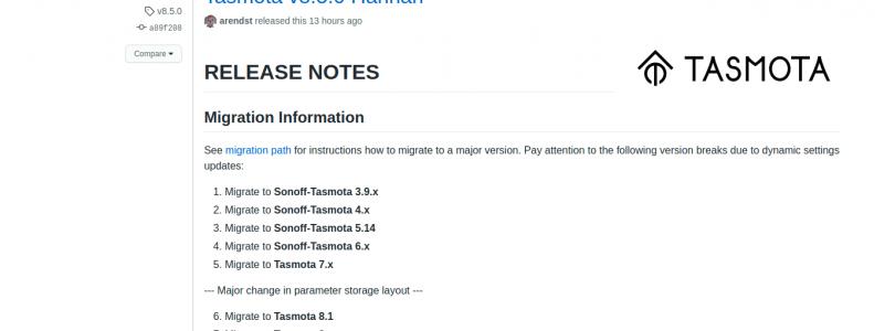 Tasmota 8.5.0 Hannah