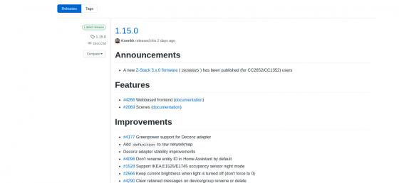 Zigbee2mqtt llega a la nueva versión 1.15.0 con frontend incluido