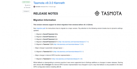 Tasmota llega a la versión 9.3.0 Kenneth