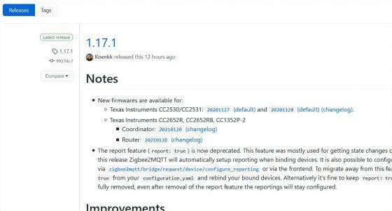 Zigbee2mqtt se actualiza a la versión 1.17.1