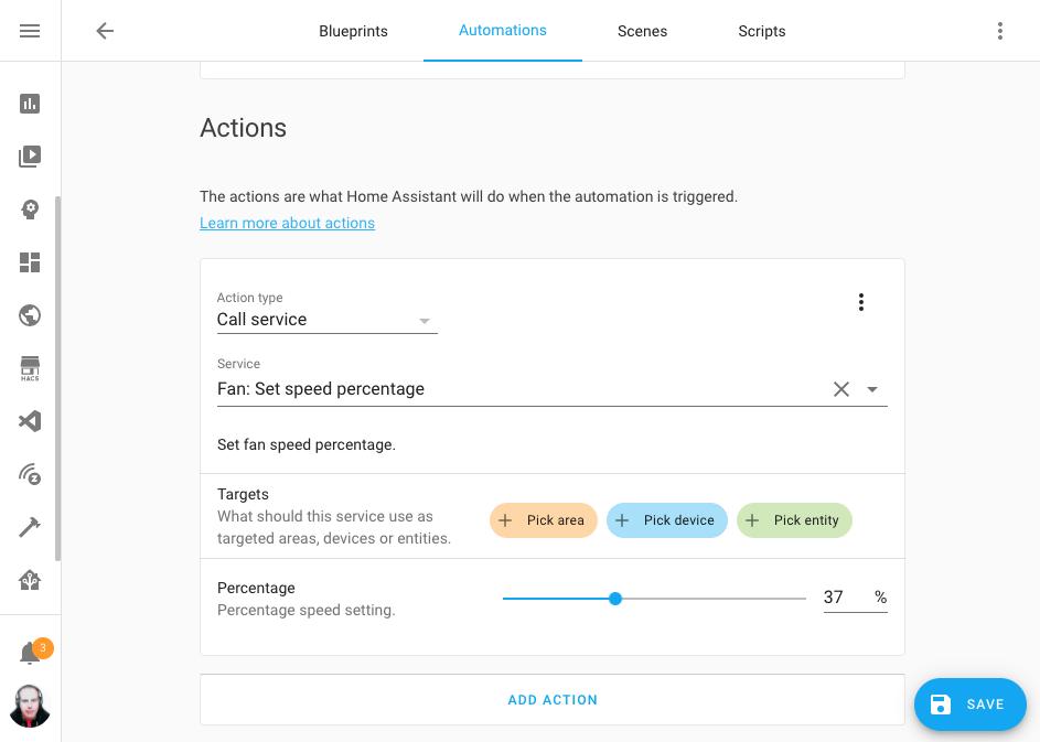 Editor de automatizaciones con variables