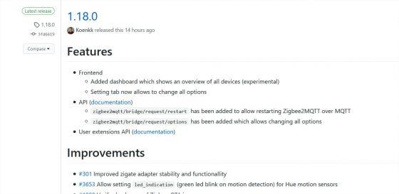 Zigbee2mqtt se actualiza a la versión 1.18.0