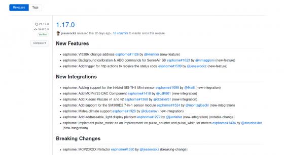 ESPHome llega a la versión 1.17