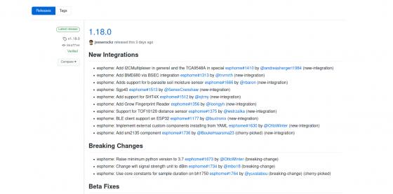 ESPHome se actualiza a la versión 1.18.0