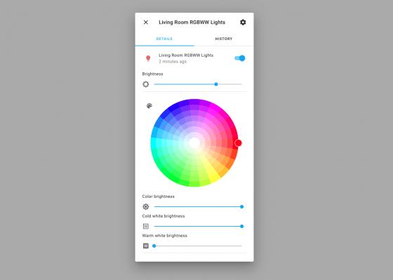 Panel de color de Home Assistant 2021.5