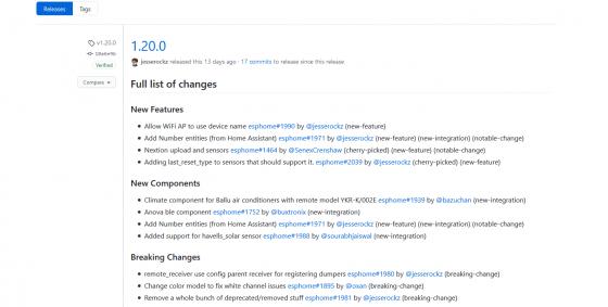 ESPHome se actualiza a la versión 1.20.0