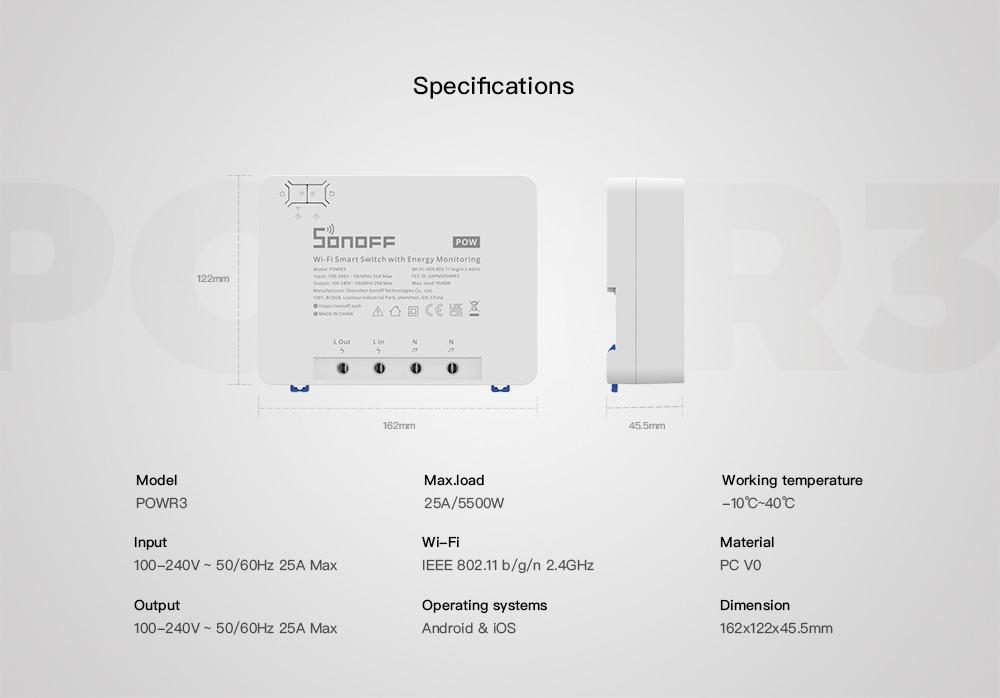 Especificaciones del Sonoff POWR3