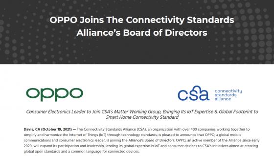 Oppo entra en la Connectivity Standards Alliance (antigua Zigbee Alliance)